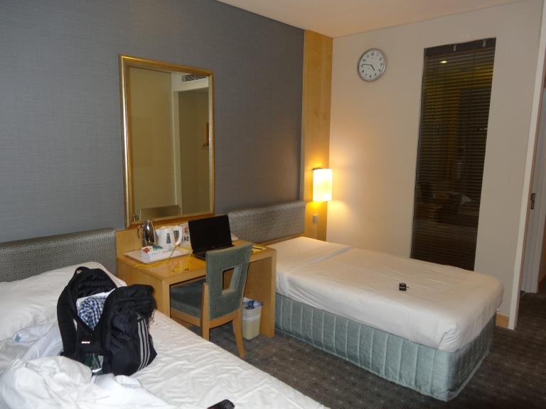 A typical room in the transit hotel!