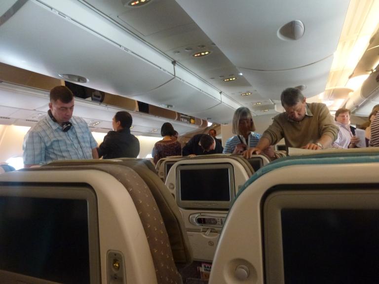Boarding before flight