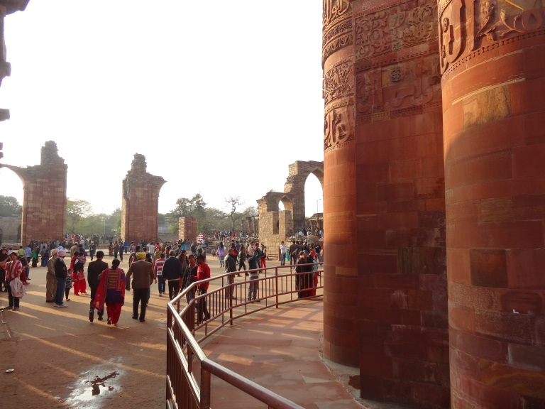 At the base of the minar
