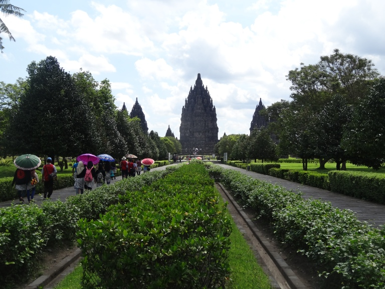 The amazing view walking up to the Candi Prambanan complex