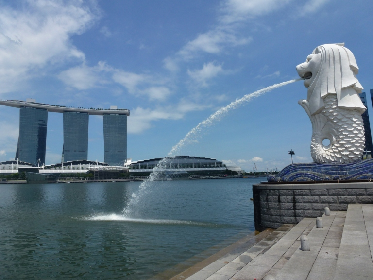 Two icons of Marina Bay: MBS, and the Merlion.