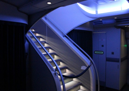 The way to the upper deck on BA's A380