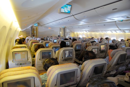Onboard the Emirates A380 in economy class