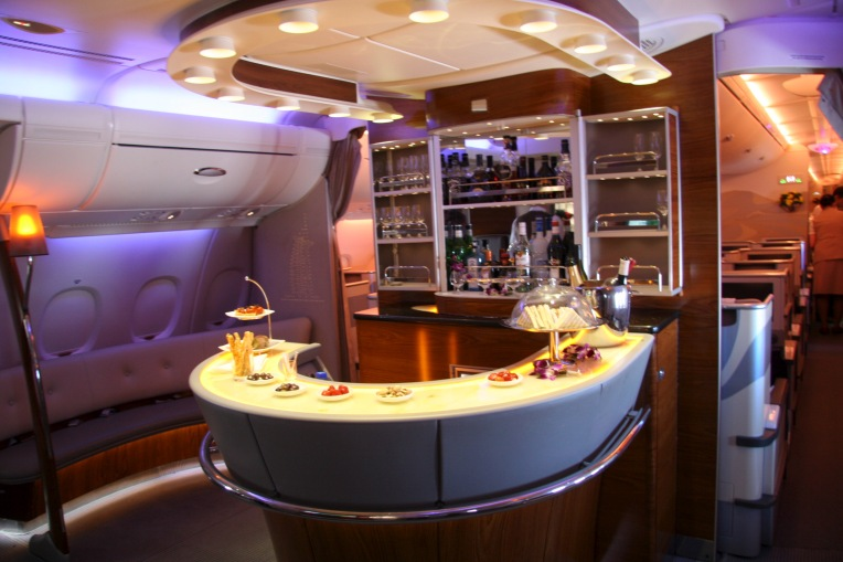 The First Class bar on the Emirates A380
