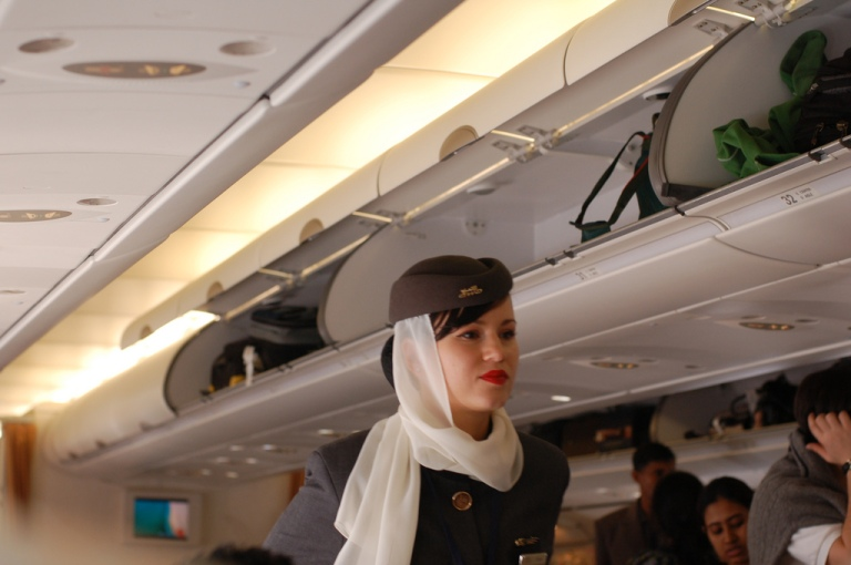 An Etihad stewardess
