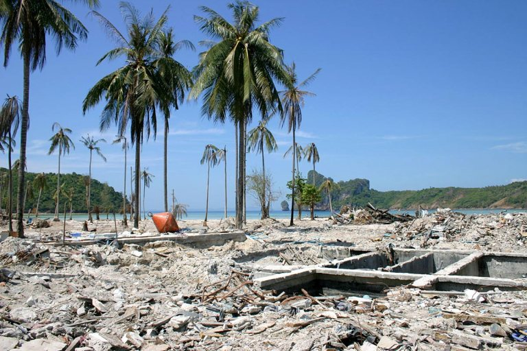 The devastation of the Tsunami 10 years ago (photo courtesy of howmanypeopledied.com)