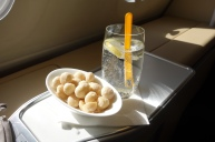 Pre-takeoff snack and drinks in LH First Class