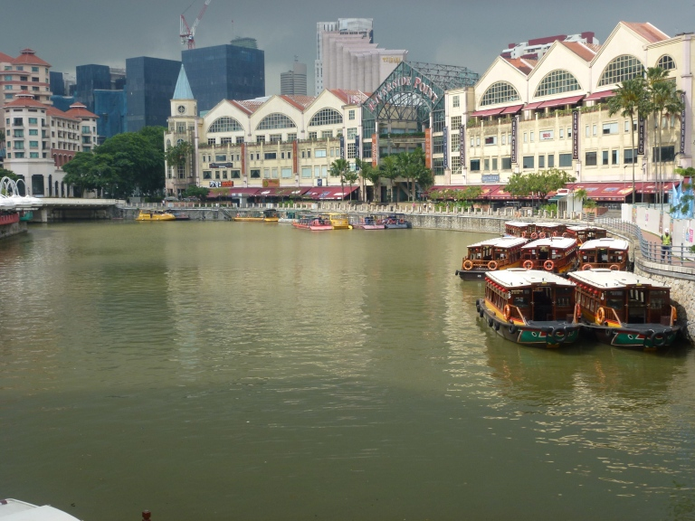 The Singapore River runs through Clarke Quay