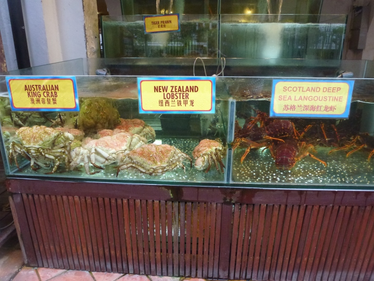 Live seafood on offer in Boat Quay