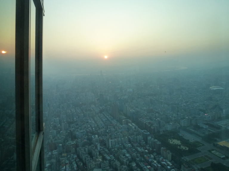 At the top, looking down on a Taipei sunset