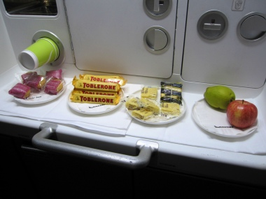 """The self service """"snack bar"""" onboard the Qantas A380 economy cabins"""