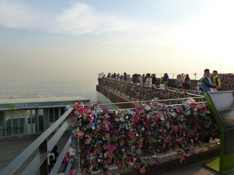 Namsan's famous keyrings on the railings at the summit