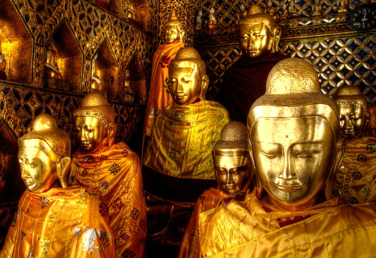 Golden Buddha statues at the Shwedagon Pagoda
