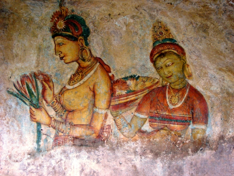 A 5th century fresco painting from the walls of Sigiriya