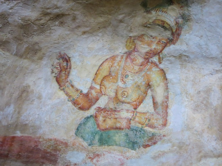 Some of the frescoes at Sigiriya are getting worn due to the weather