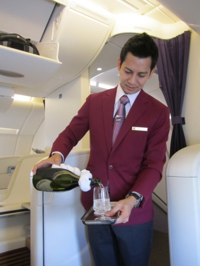 The champagne is free-flowing in Thai First Class