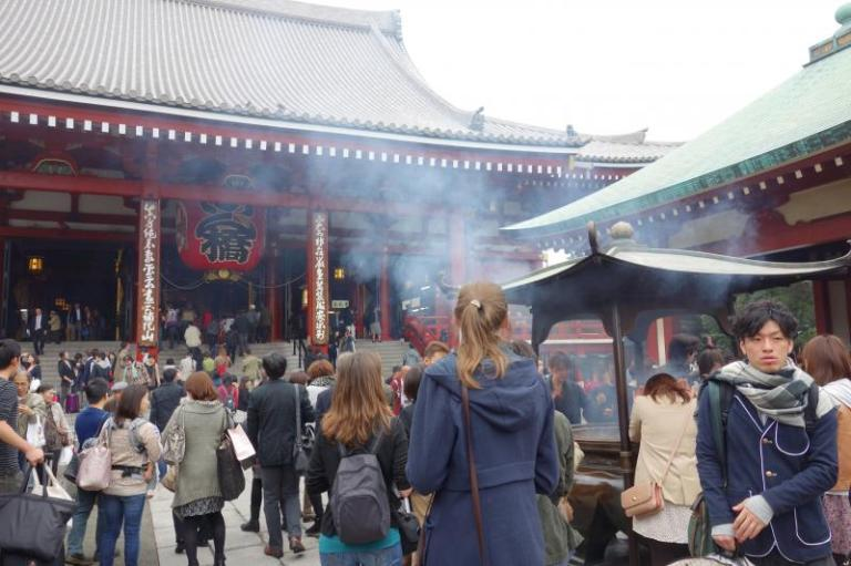 Incense burning at Buddhist temples