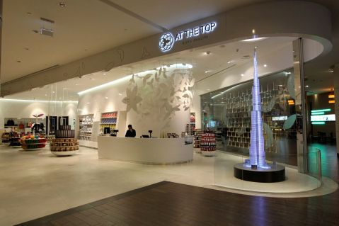 Luxury gift shops adorn all the tourist attractions (this one at Burj Khalifa)