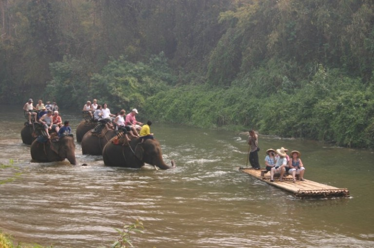 Bamboo rafting is fun - especially in the trail of elephants!