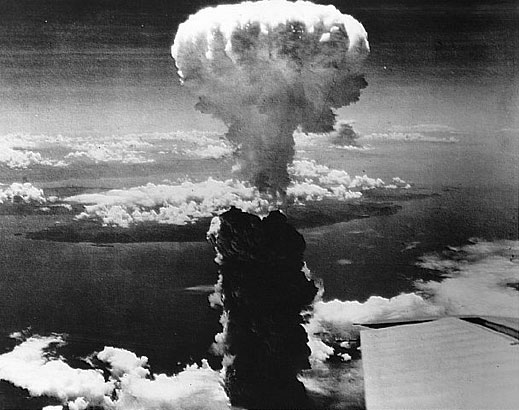 The nuclear bomb exploding over Hiroshima in 1945