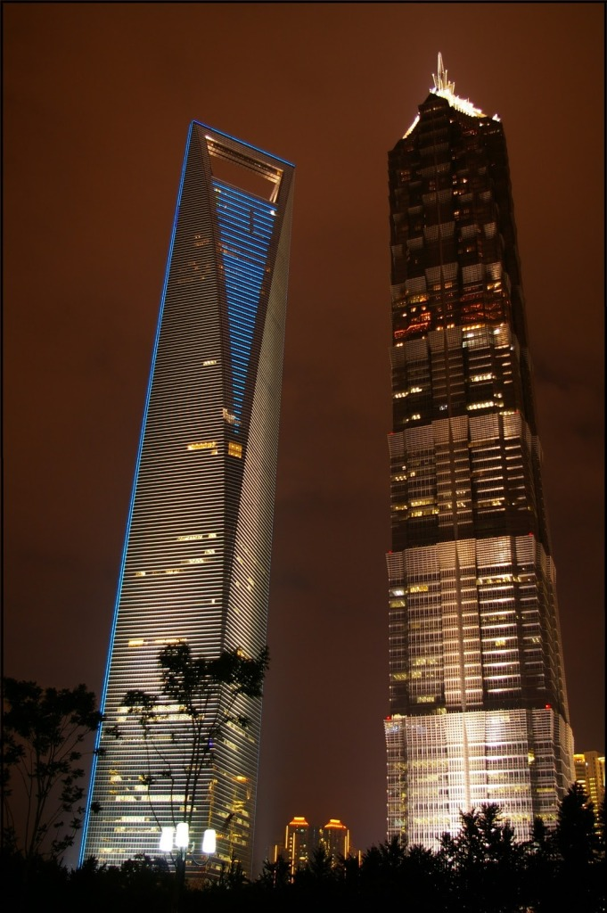 Jin Mao Tower at night with the Shanghai World Financial Center