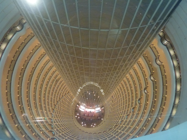 Looking down inside the Tower at the Grand Hyatt hotel lobby