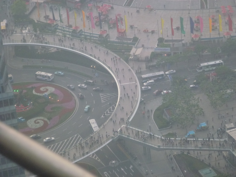 Looking down on Shanghai - specifically Lujiazui Ring Road.