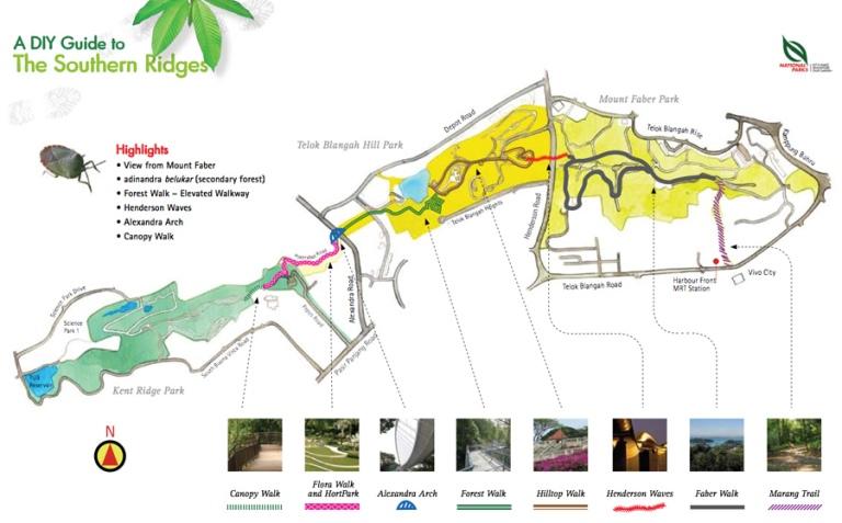 Southern Ridges Walk map