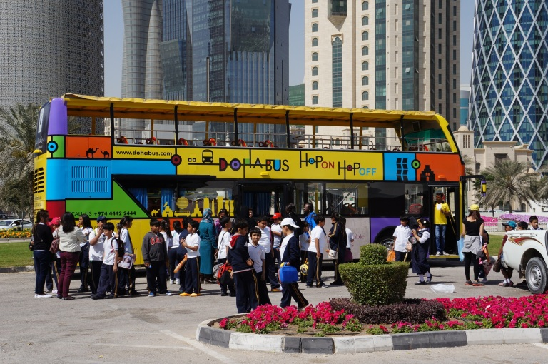 The hop on/hop off sightseeing buses are a great way for tourists to see Doha's main sights
