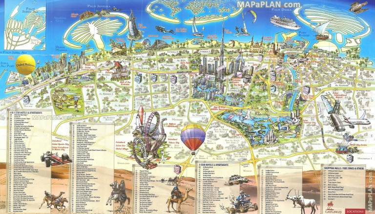 A typical tourist map of Dubai (click to enlarge)