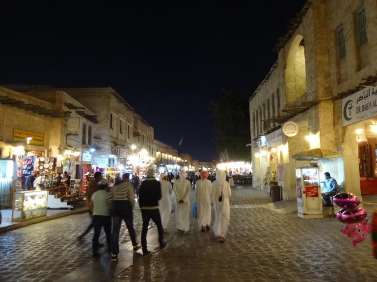 At night, the Souq takes on a different atmosphere