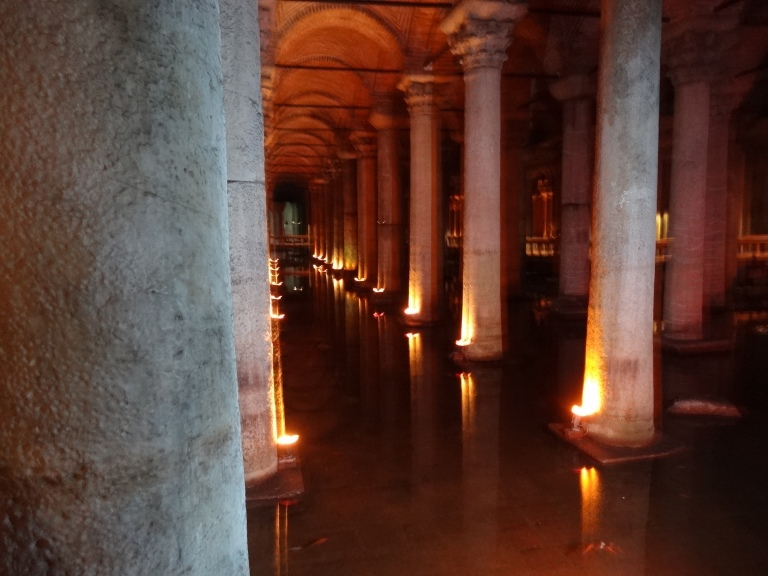 The Basilica Cistern is very dark