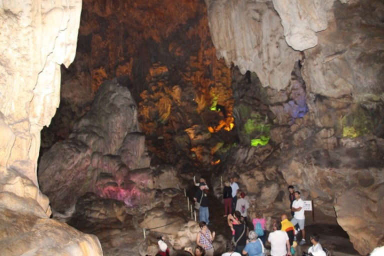 Inside one of the many caves around Halong Bay