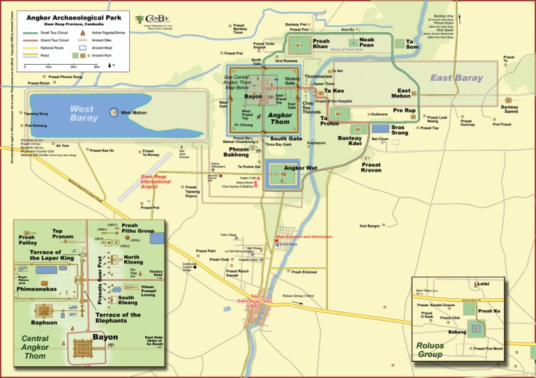 Map of the Angkor Area (courtesy of Canby Publications)