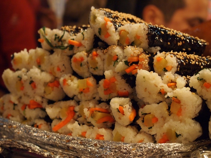 Freshly-rolled and ready to go Kimbap!