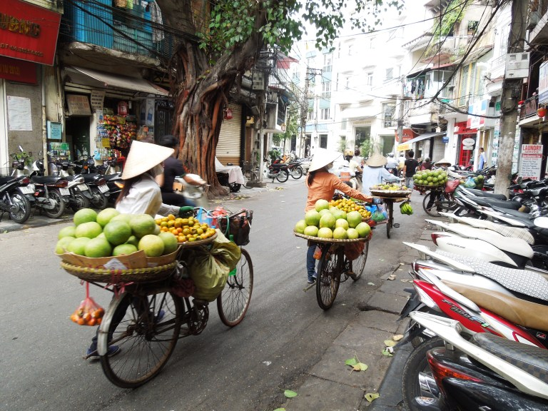 Food being transported on bikes in Hanoi's Old Quarter - just an everyday occurrence!