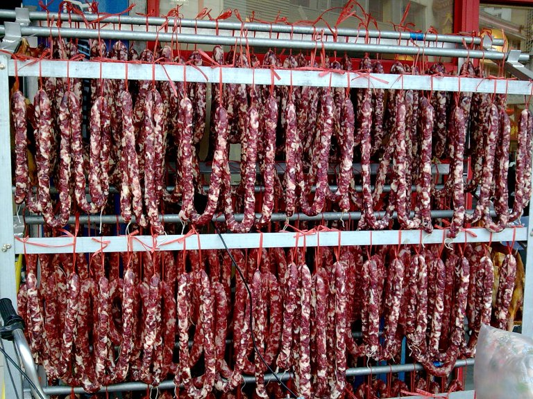 The dried and cured sausage (Lap Cheong) hanging outside a HK shop