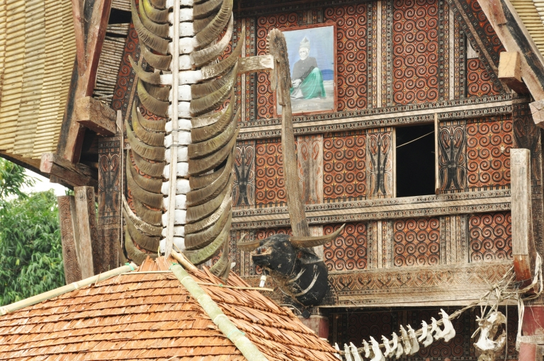 Mementoes of previous kills decorate the exterior of a tongkonan