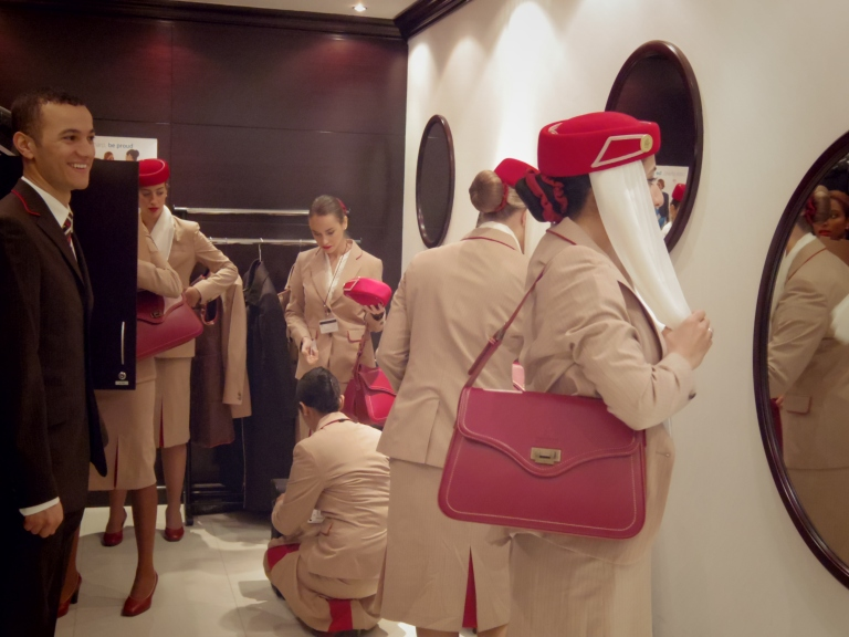 Emirates crew readying themselves for another flight!