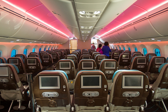 The 787 economy cabins have a fairly spacious 3-3-3 config