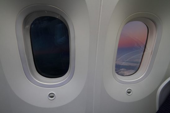 Unique to the 787 are these cool window shades