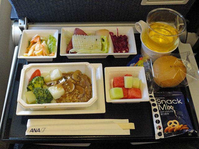 Compact meal in economy class for ANA