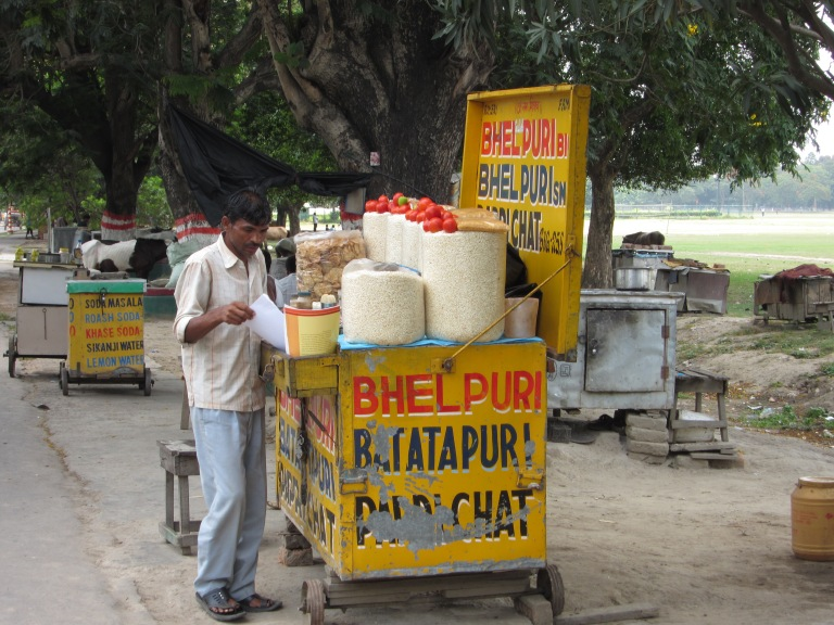 Bhelpuri is sold along Chowpatty Beach all year round