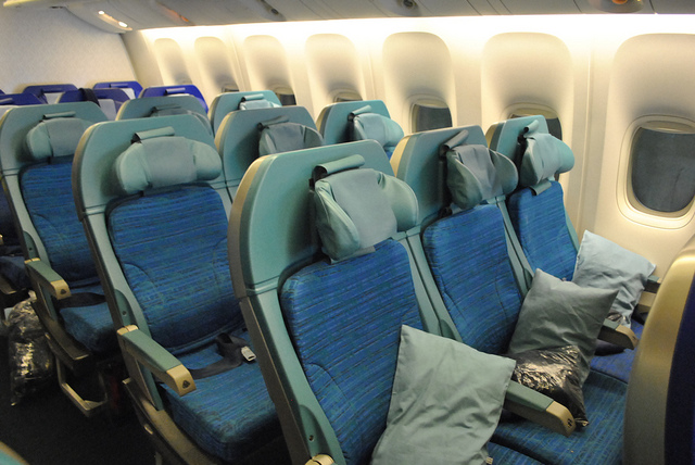 The economy cabin in Cathay's B777 have nice headrests