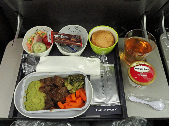A typical economy class meal from Cathay Pacific
