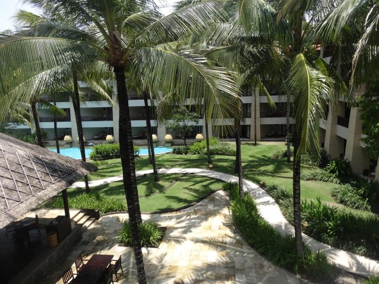 The Conrad's beautiful, winding gardens down the beachfront