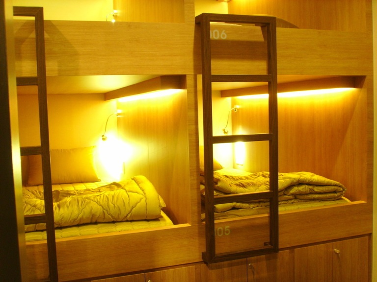 You sleep in nice compartments known as 'pods'