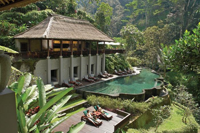 One of the pools at Maya Ubud Resort