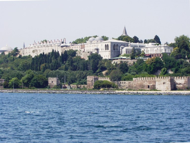 The view of Topkapi Palace from a Bosphorus River cruise