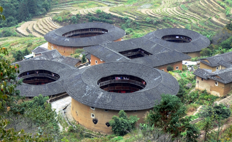 The Tianloukeng tulou group (Snail Pit Village) in Nanning, China